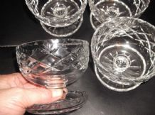 4 X VINTAGE LEAD CUT GLASS SUNDAE DISHES WITH FOOT WELL BEVEL RIMS SPARKLE